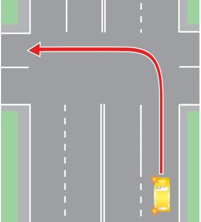 Невыполнение требования ПДД перед поворотом налево заблаговременно занять крайнюю левую полосу.